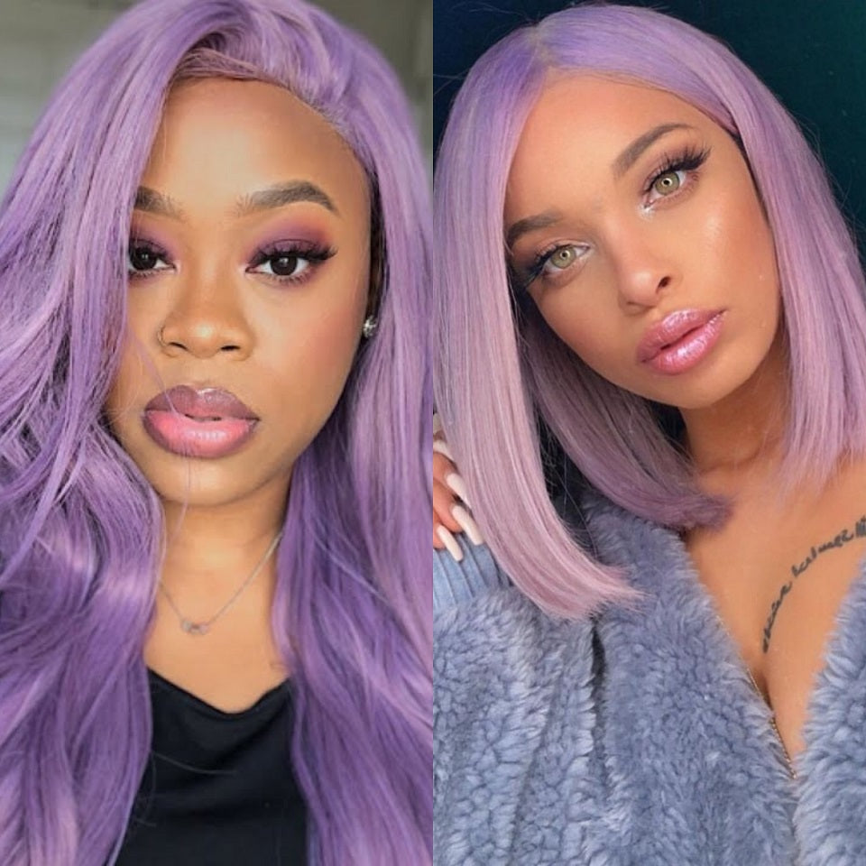 Beaufox Straight Lace Front Wig Virgin Human Hair Baby Hair 150% Density Purple Color