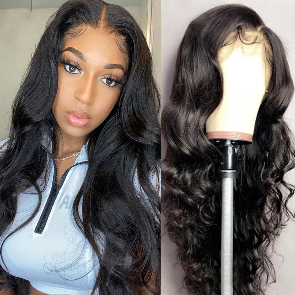 Beaufox Body Wave 13*4 Lace Front Wig Natural Black 210% Density Virgin Human Hair Wigs
