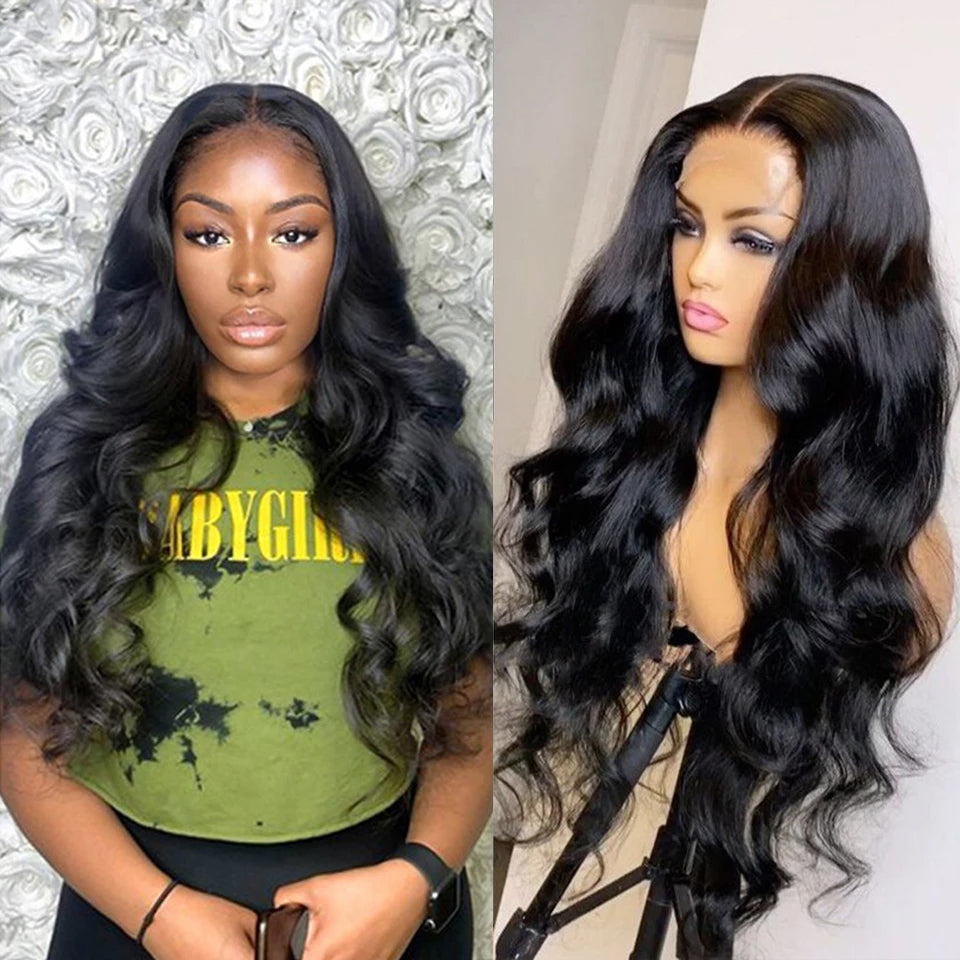 Beaufox Natural Black Hair Body Wave 13*4 Lace Front Wig 250% Density Virgin Human Hair Wigs