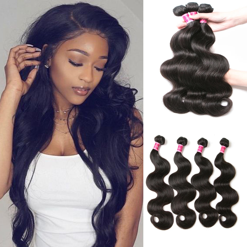 Beaufox Hair Body Wave 100% Human Hair 4 Bundles for Full Head Natural Color