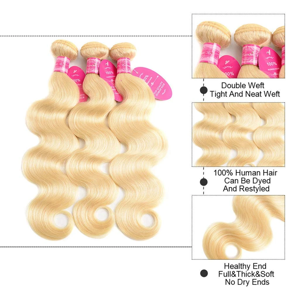 Beaufox 613 Blonde Color Body Wave Human Hair 3 Bundles With Frontal 13*4