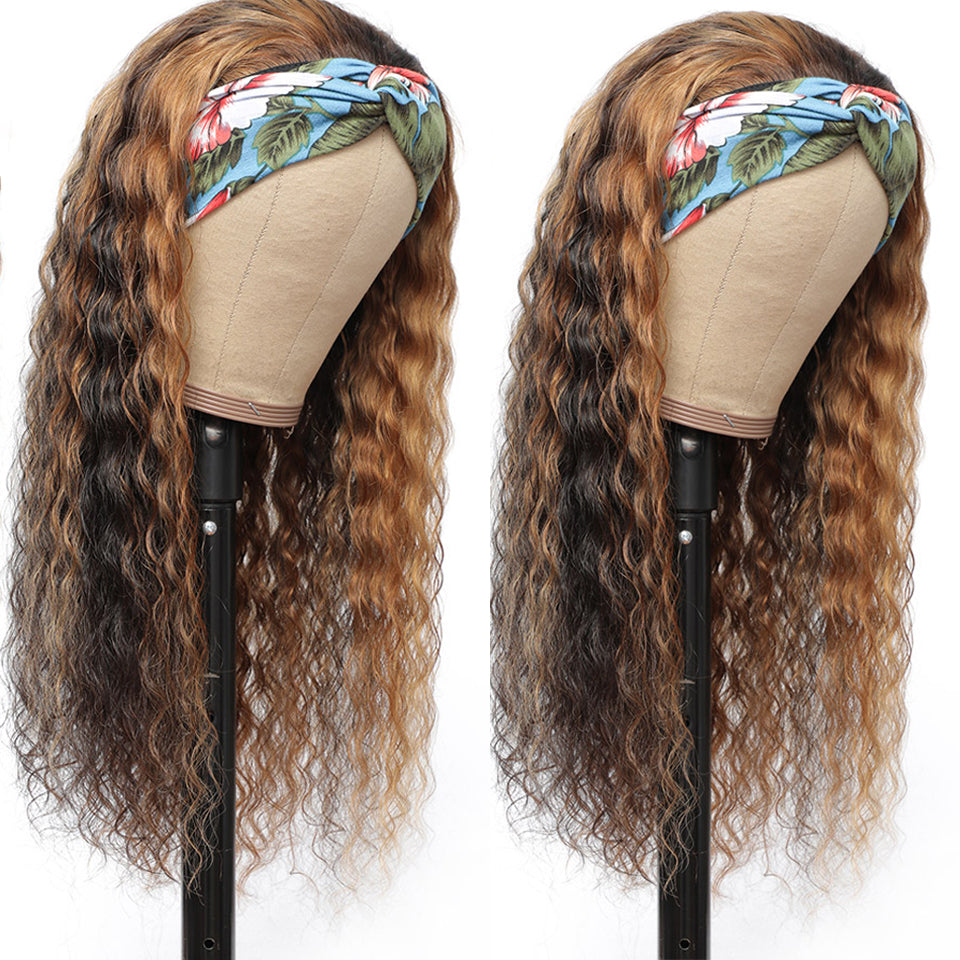 Beaufox Highlight Deep Curly Headband Wig Ombre Piano Color Wig For Women