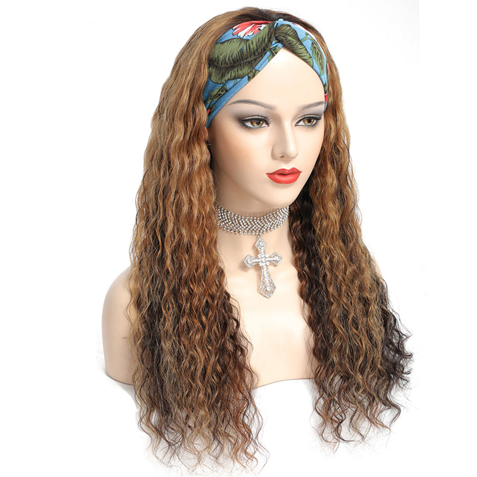 Beaufox Deep Wave Highlight Headband Wig Ombre Colored Virgin Human Hair Wigs