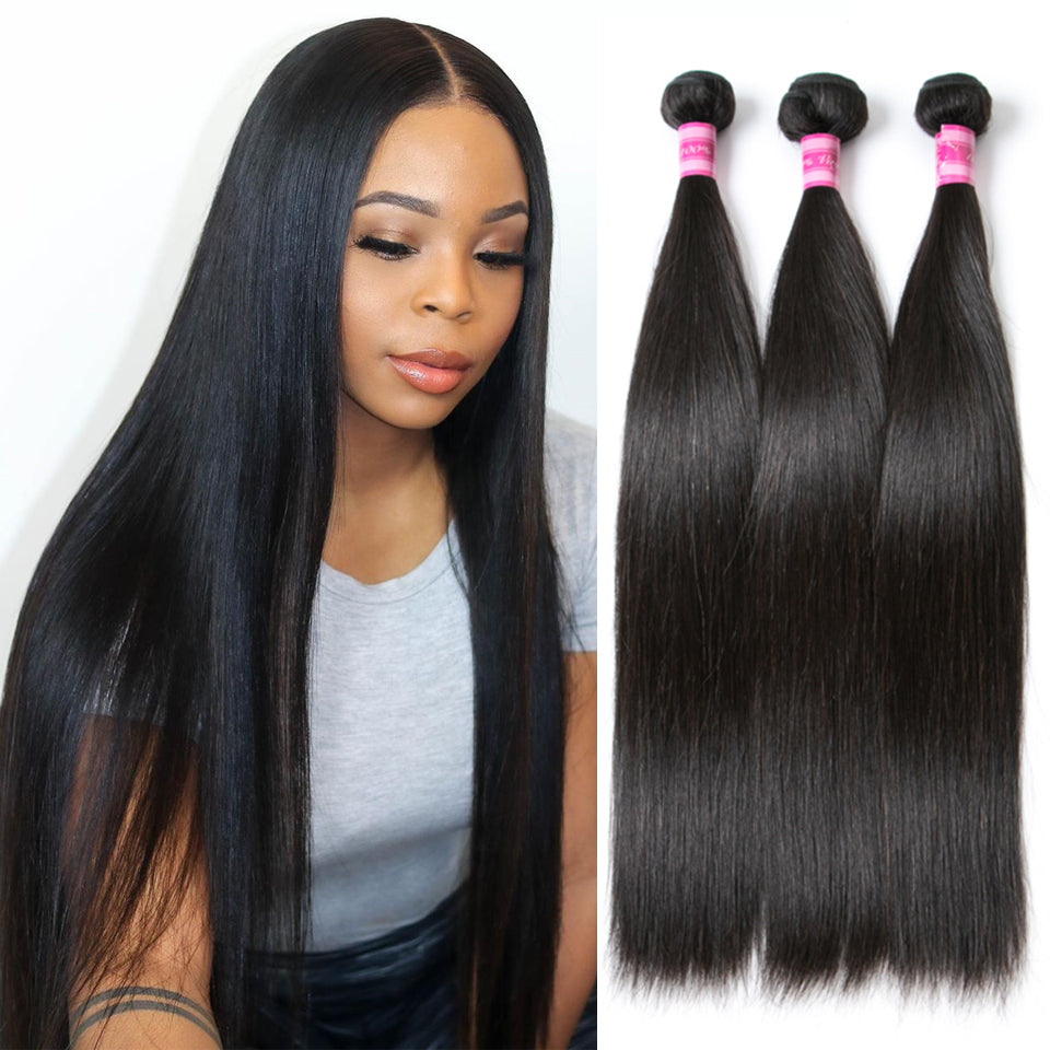 Beaufox Hair Straight Hair 3 Bundles 100% Human Hair Natural Black Weave