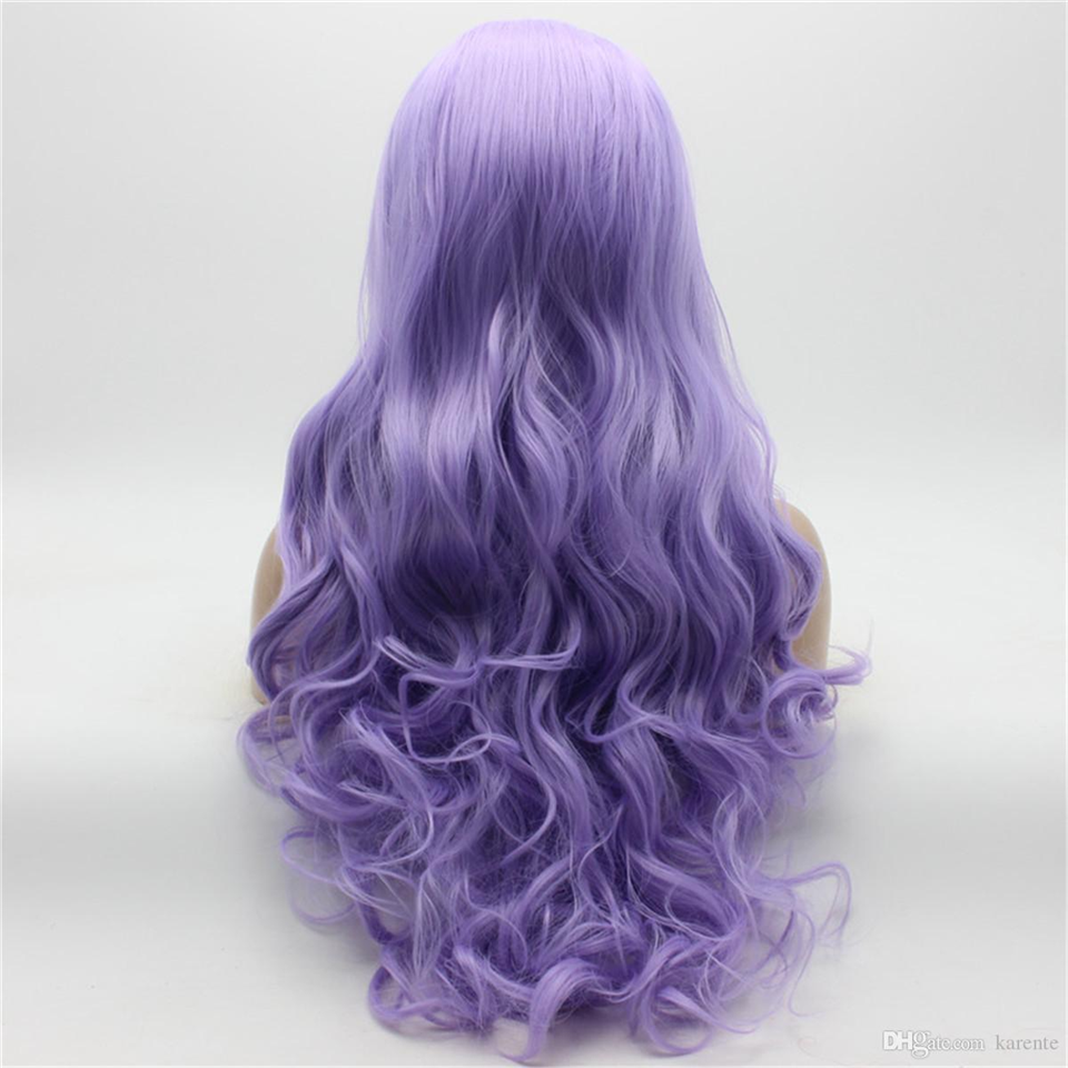Beaufox Body Wave Lace Front Wig Colorful Wig Virgin Human Hair Baby Hair 150% Density Purple Color