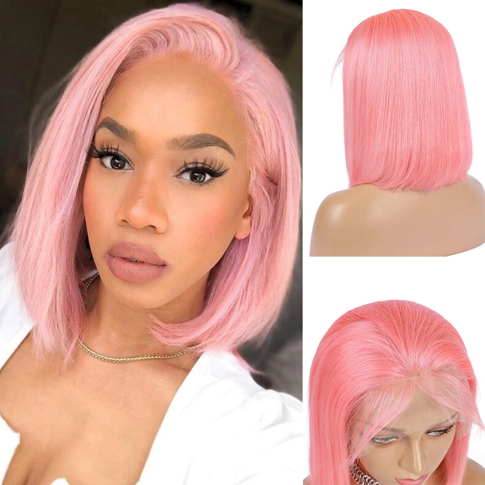 Beaufox Virgin Human Hair Pink Bob Straight Lace Front Wig