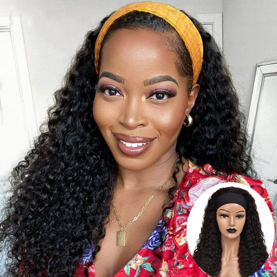 Beaufox Hair Deep Wave Headband Wig Human Hair Wigs Scarf Wig #1b Color 150% Density