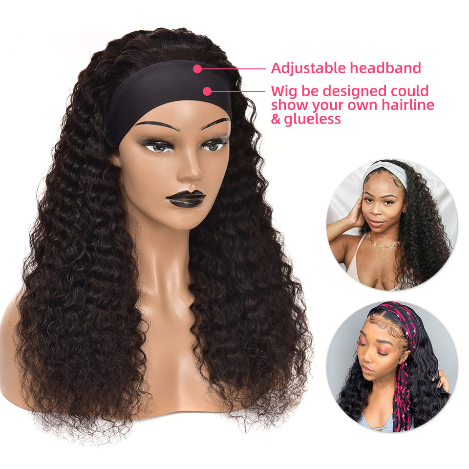 Beaufox Hair Deep Curly Headband Wig Human Hair Wigs 180% Density #1b Color Affordable