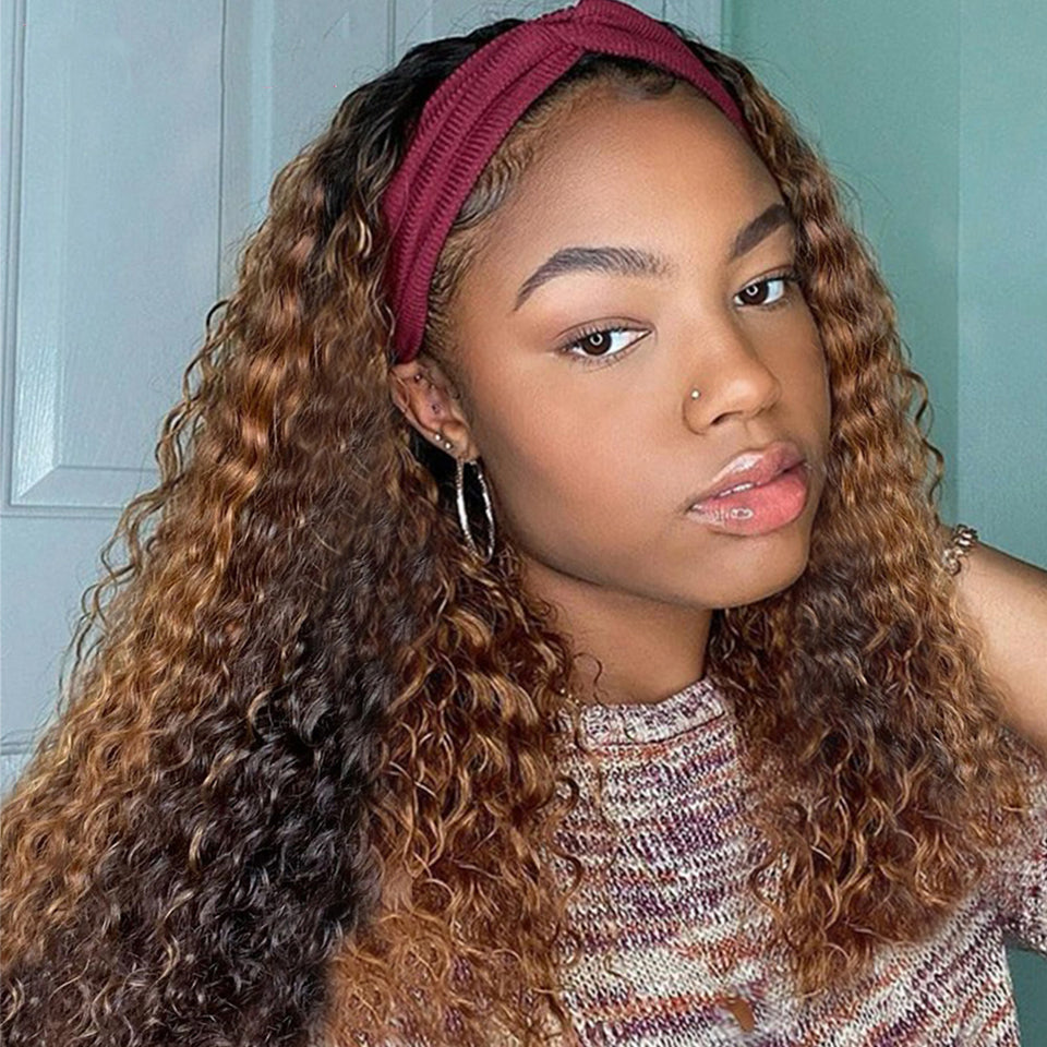 Beaufox Highlight Headband Wig Water Curly Brown Blonde Ombre Virgin Human Hair Wigs
