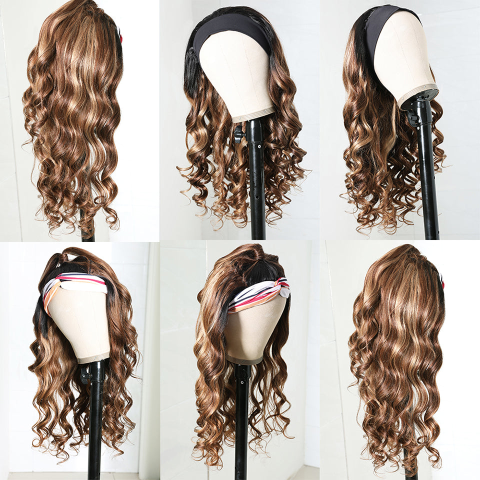 Beaufox Body Wave Brown Blonde Ombre Human Hair Wig Highlight Headband Wig No Glue