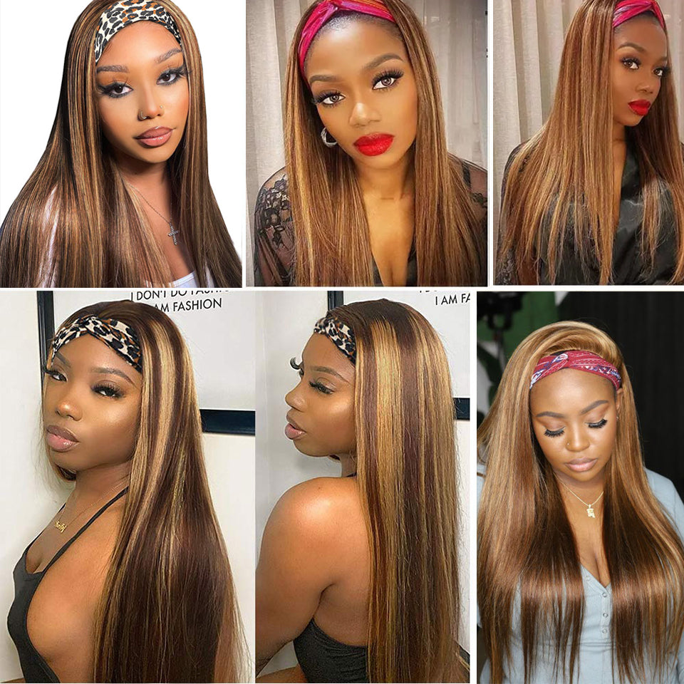 Beaufox Straight Hair Highlight Headband Wig Ombre Glueless Virgin Human Hair For Women