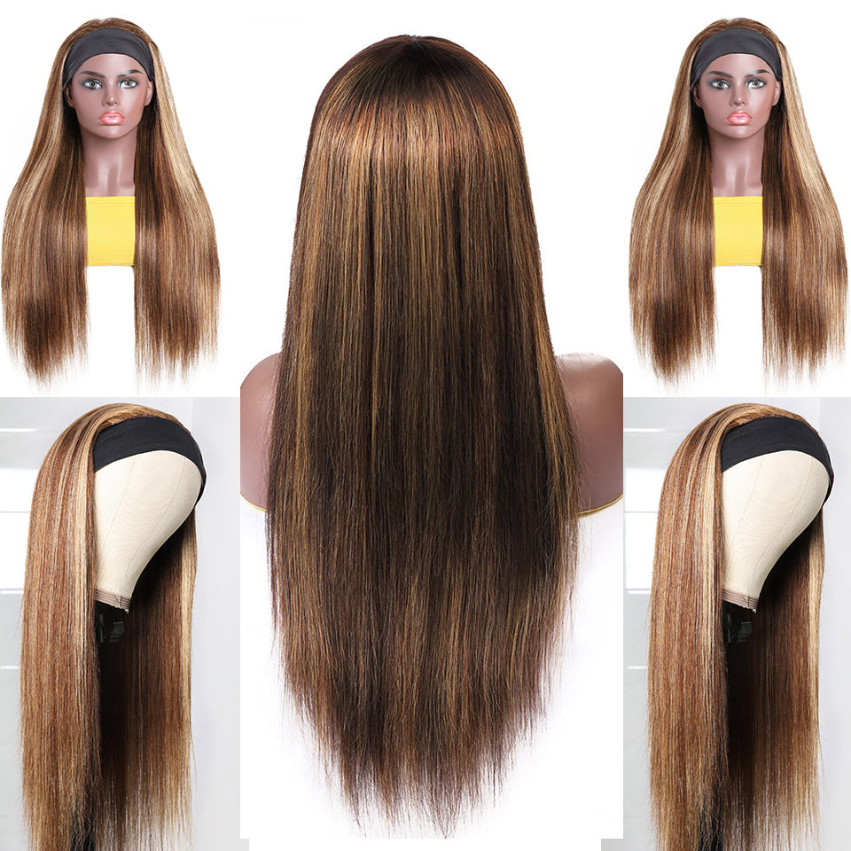 Beaufox Highlight Ombre P4/27 Straight Hair Headband Wig Piano Color Wigs