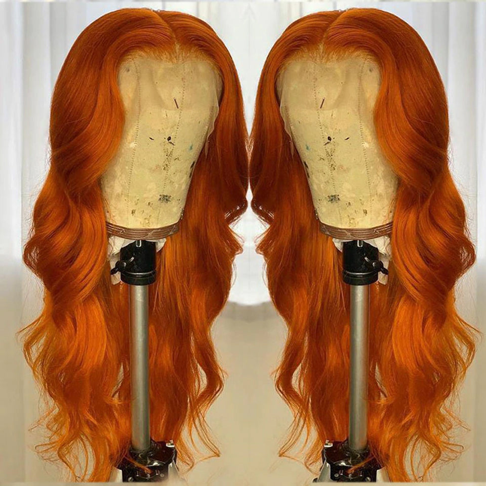 Beaufox Orange Body Wave Lace Front Wig Virgin Human Hair 150% Density