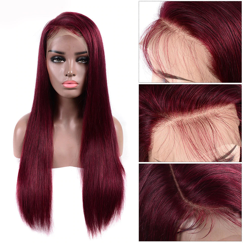 Beaufox Hair 150% Human Hair Straight Lace Front Wig 99J Red Wig Colorful Hair