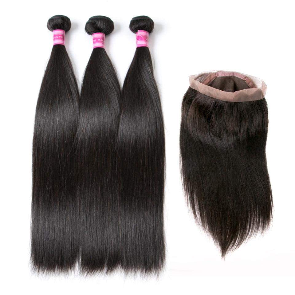 Beaufox Virgin Human Hair Straight 3 Bundles With 360 Lace Frontal Natural Black