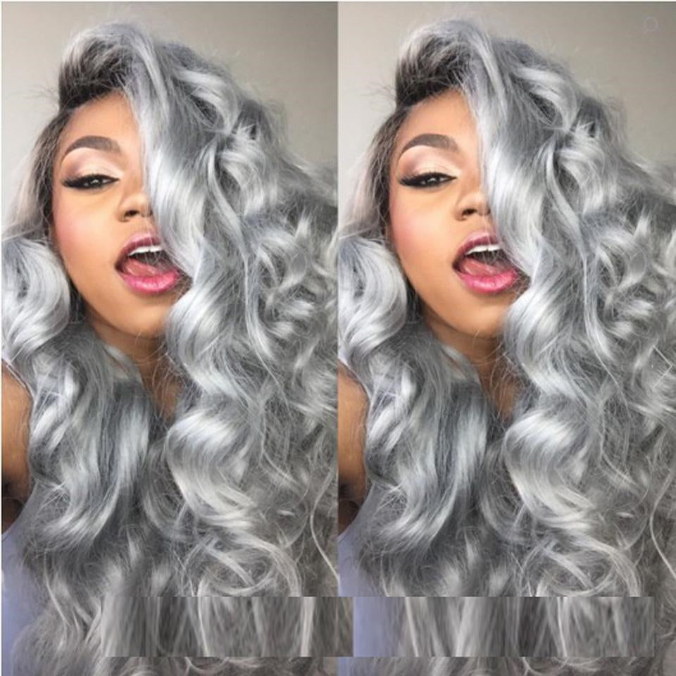 Beaufox 13X4 Gray Color Body Wave Lace Front Wig Human Hair 150% Density