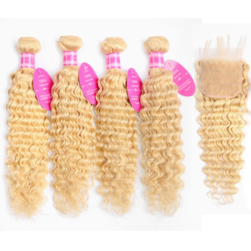 Beaufox Virgin Human Hair Deep Wave 613 Blonde 4 Bundles With 4x4 Lace Closure
