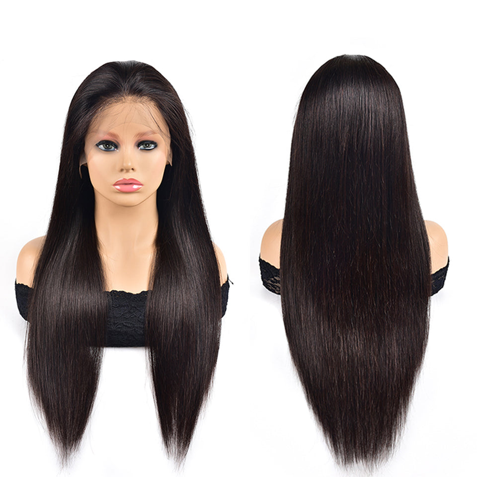 Beaufox Straight 13*4 Lace Front Wig Virgin Human Hair Wigs Natural Black 210% Density