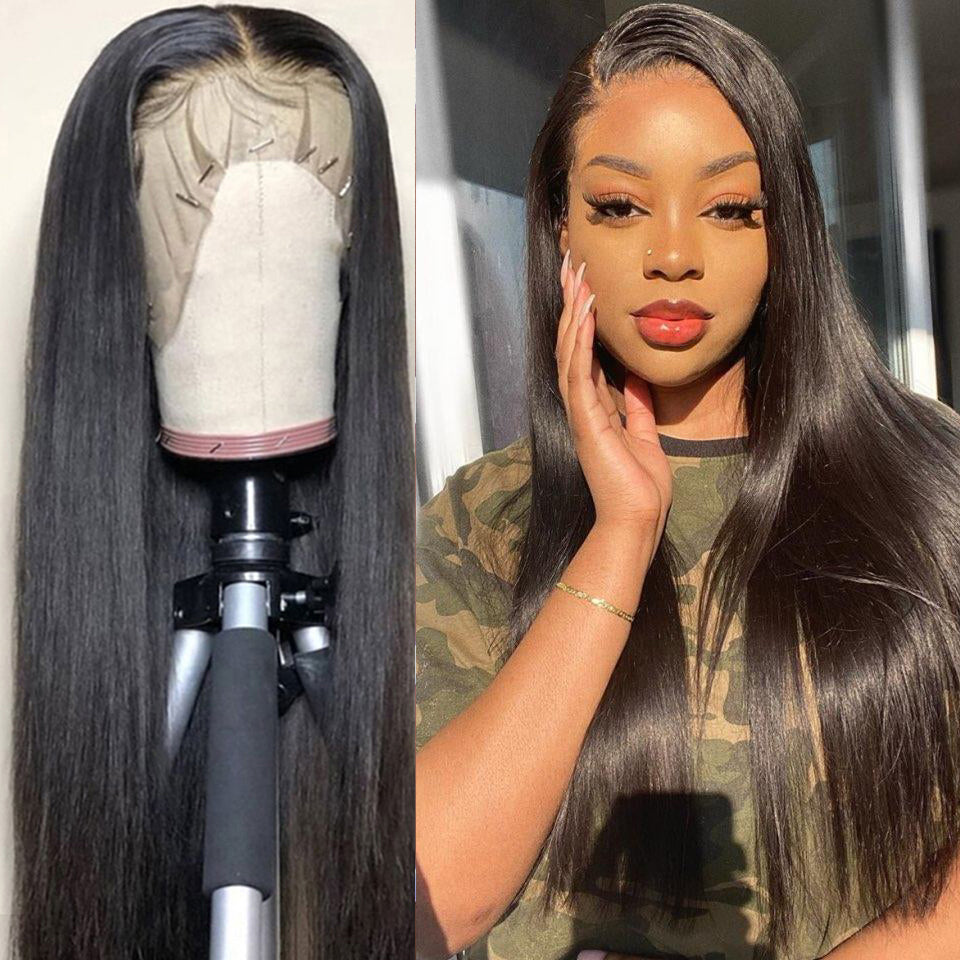 Beaufox Hair Straight 13*4 Lace Front Wig 150% Density Natural Black Virgin Human Hair