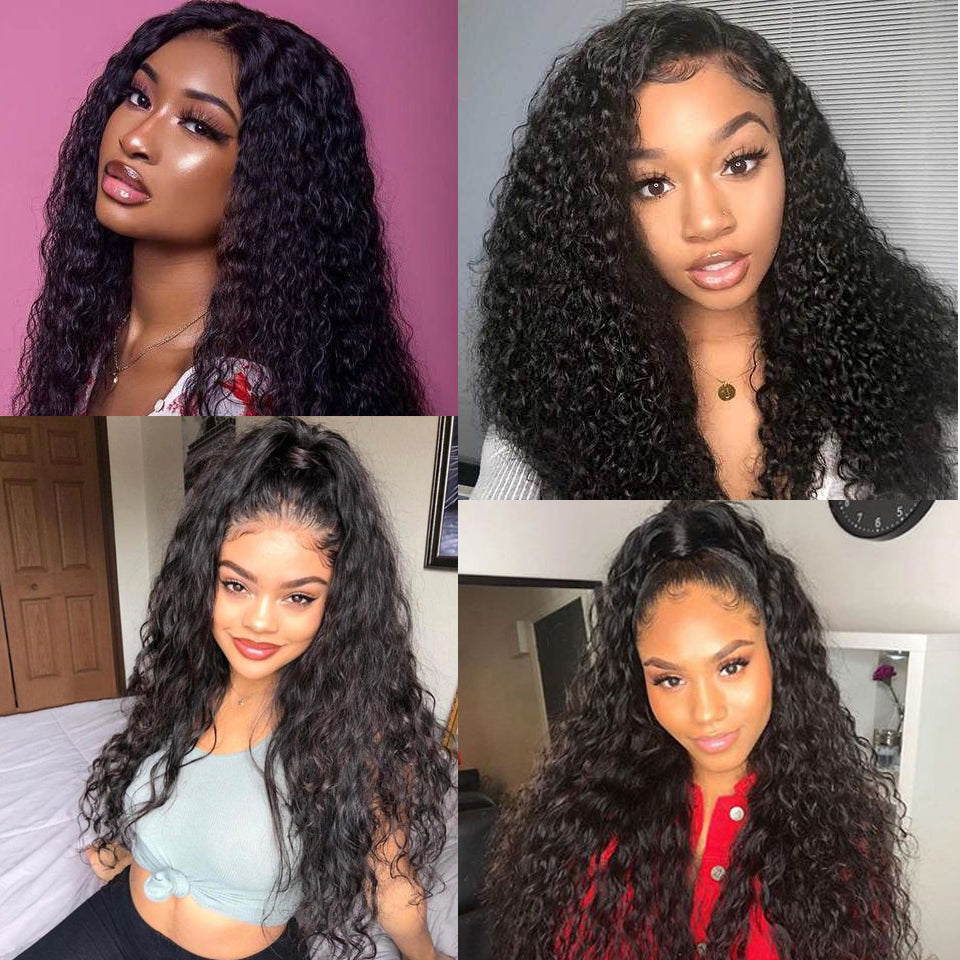 Beaufox 100% Virgin Human Hair 13*4 Lace Front Wig 180% Density Water Wave