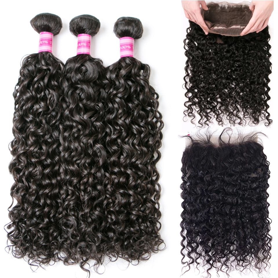 Beaufox Hair  Water Wave 3 Bundles With 360 Lace Frontal Remy Hair