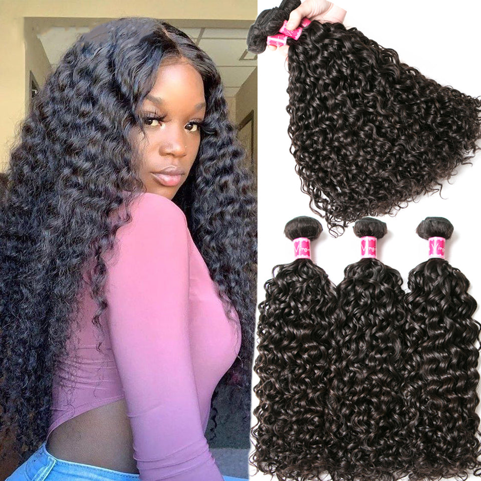Beaufox Hair Virgin Human Hair Water Curly 613 Blonde 4 Bundles With 13x4 Lace Frontal