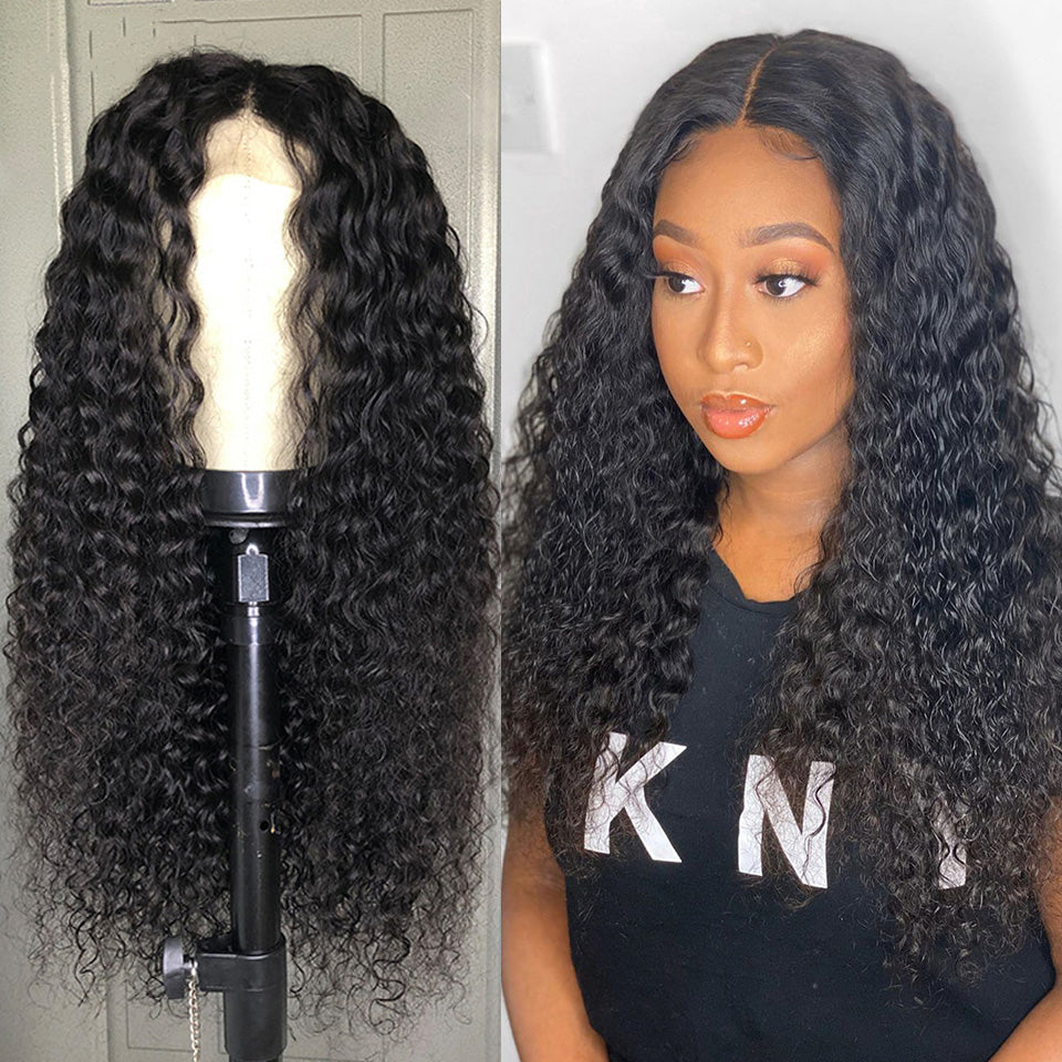 Beaufox Hair Water Curly 13*4 Lace Front Wig Virgin Human Hair Wigs 210% Density