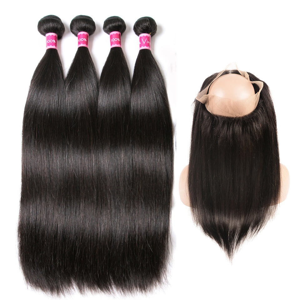Beaufox Hair Straight 100% Human Hair 4 Bundles With 360 Lace Frontal