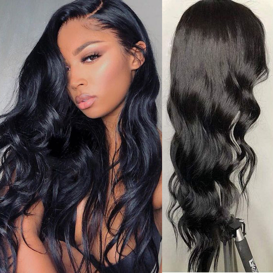 Beaufox Hair 13*4 Lace Front Wig 180% Density Body Wave Wigs Pre Plucked Virgin Human Hair