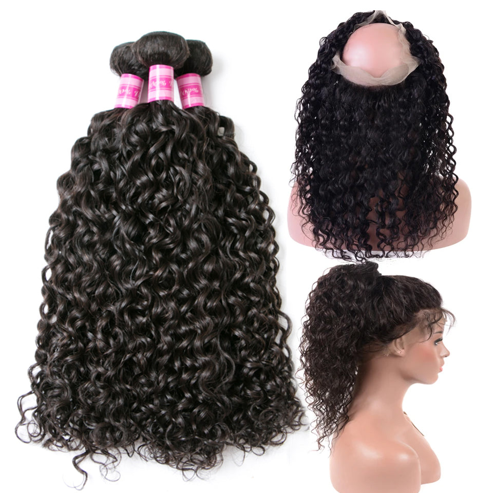 Beaufox Hair  Water Wave 3 Bundles With 360 Lace Frontal Human Hair
