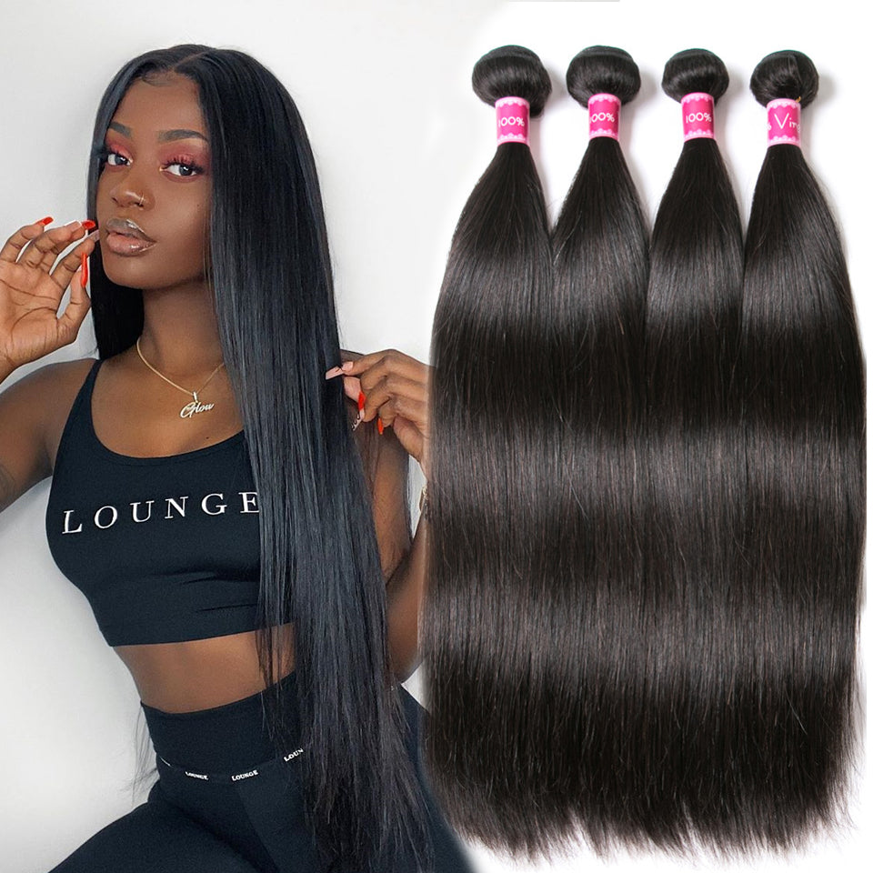 Beaufox Hair Straight 100% Virgin Human Hair 4 Bundles Natural Color