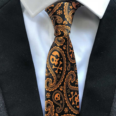 Necktie Orange Skull
