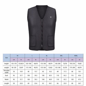 1PC Black Electric USB Heated Vest