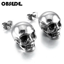 Load image into Gallery viewer, OBSEDE Punk Skull Earrings for Men Boys Cool Silver Jewelry Hip-hop Stud Earrings Vintage Rock Punk Skeleton Earrings