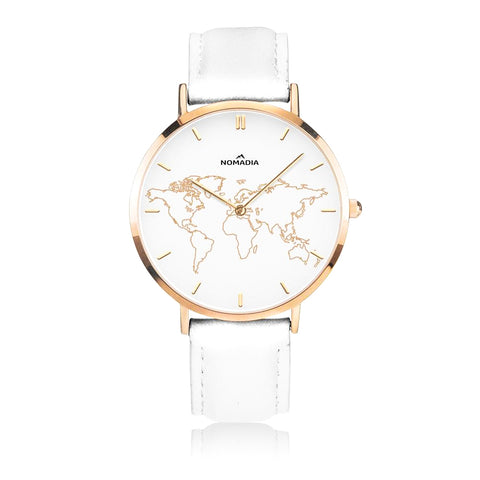 FIORE World Map | White Gold Leather 38mm