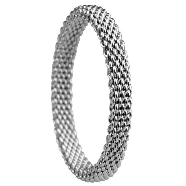 Bering 551-10-61 Silver Tone Mesh Symphony Artic Collection Ring 8