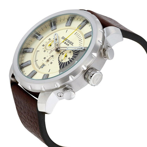Diesel DZ4346 Stronghold Ivory Leather Chronograph Mens Watch