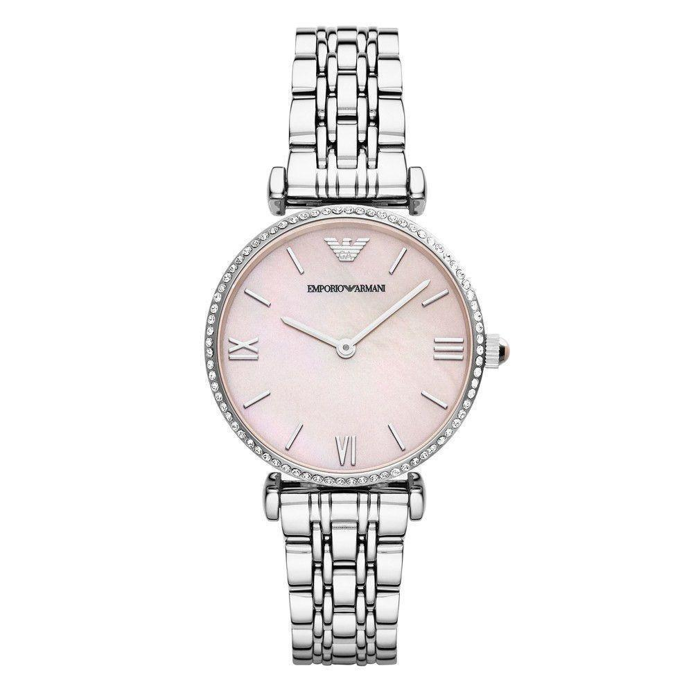 Armani AR1779 Mother of Pearl Silver Pink Gianni T-Bar Bracelet Women's Watch