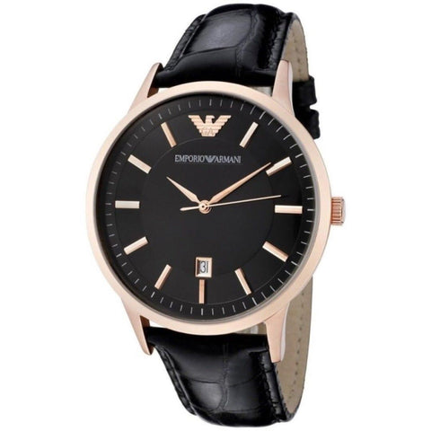 Emporio Armani AR2425 Classic Black Rose Gold Leather Mens Watch