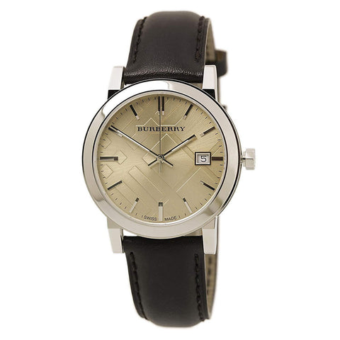 Burberry BU9011 Heritage Brown Swiss Made Leather Mens Watch