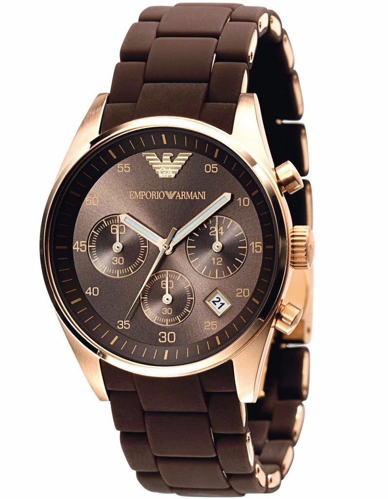 Emporio Armani AR5891 Rose Gold and Brown Chronograph Womens Watch