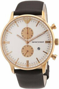 Emporio Armani AR0398 Rose Gold Classic Brown Leather Band Mens Watch