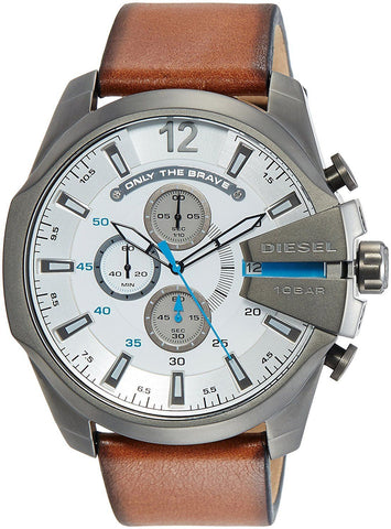 Diesel DZ4280 Mega Chief Silver Chronograph Leather Band Mens Watch