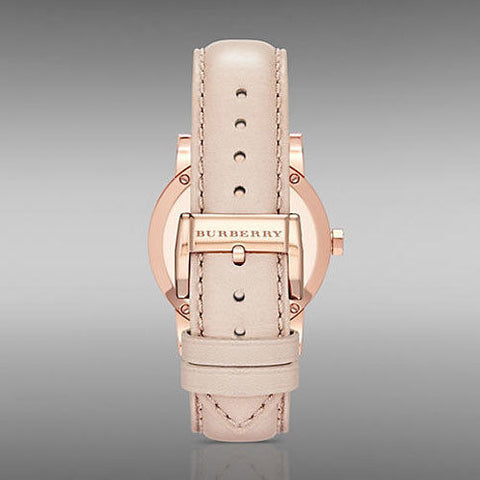Burberry BU9131 The City Rose Gold Pink Leather Ladies Watch w/ Date Dial