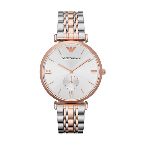 Emporio Armani AR1677 Dual Tone Classic Silver and Rose Gold Womens Watch
