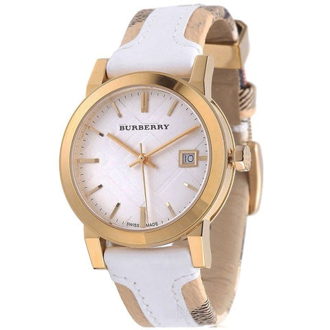 Burberry BU9110 Haymarket Large Check Leather Women's Watch