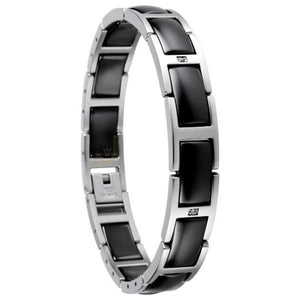 Bering 602-16-185 Sterling Silver Black Ceramic Link Chain Women Bracelet