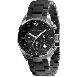 Emporio Armani AR5868 Black Sport Silicone Chronograph Womens Watch