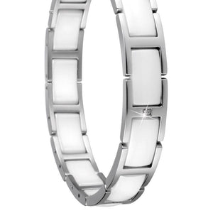 Bering 602-15-185 Sterling Silver White Ceramic Link Chain Women Bracelet