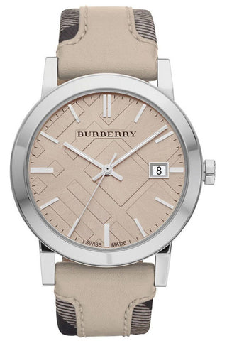 Burberry BU9021 Large Check Swiss Made Leather Womens Watch